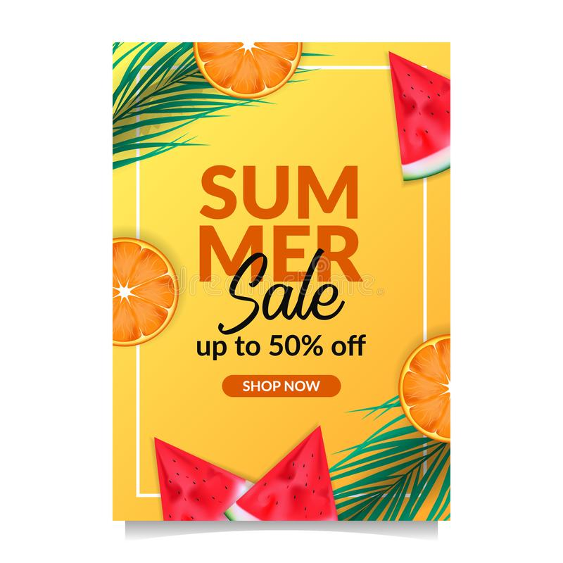 Summer holiday sale offer discount poster banner template tropical fruit from top view vector illustration