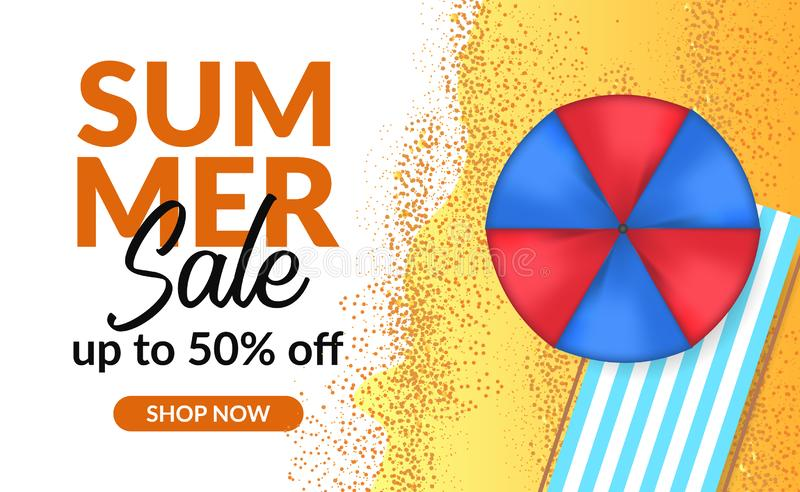 Summer holiday sale offer discount poster banner template with palm leaves. Summer holiday sale offer discount poster banner template with umbrella. poster vector illustration