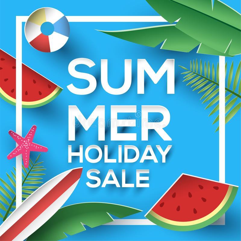 Summer holiday sale paper style sign with vibrant colored plant and watermelon stock illustration