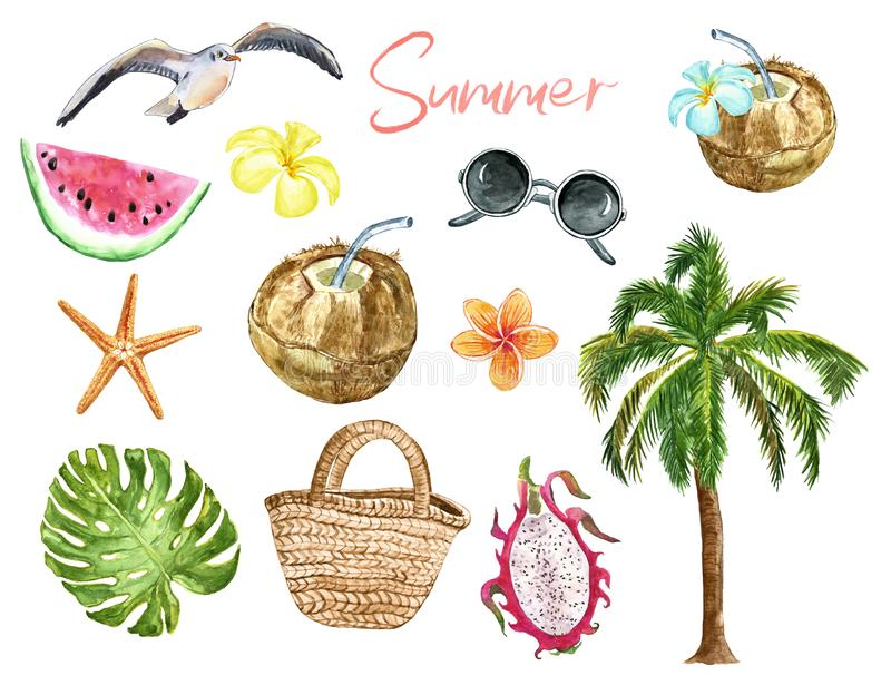 Summer holiday set with symbols of beach vacation. Watercolor palm tree, sunglasses, cococnut cocktail, exotic fruits and flowers stock illustration