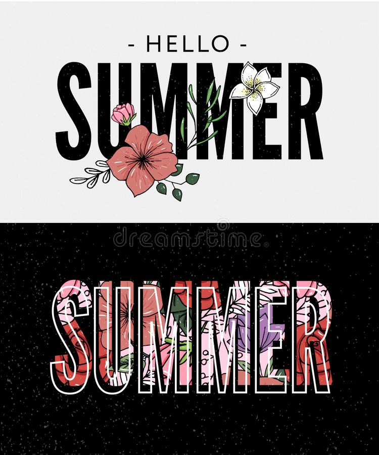 Summer holiday slogan with pineapple and tropical flower illustration Sales Holiday Flyer Banner Poster. Summer holiday slogan with pineapple and tropical flower vector illustration