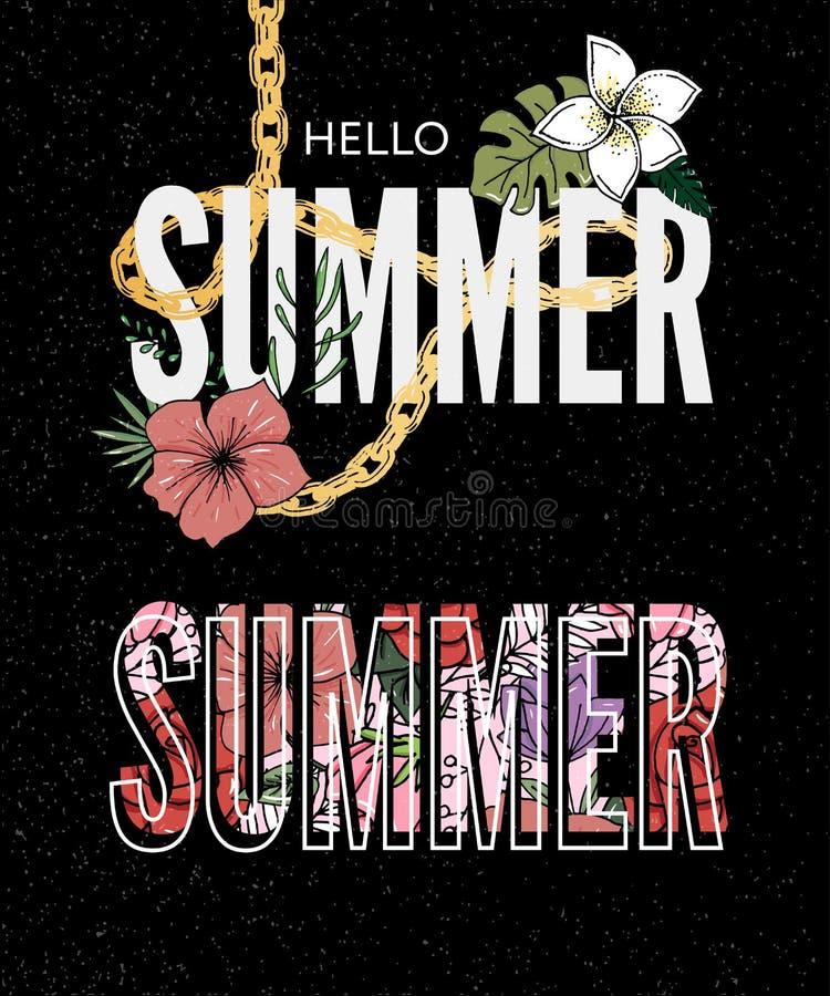 Summer holiday slogan tropical flower illustration Sales Holiday Flyer Banner Poster. Summer holiday slogan tropical flower illustration, fashion, print, retro stock illustration