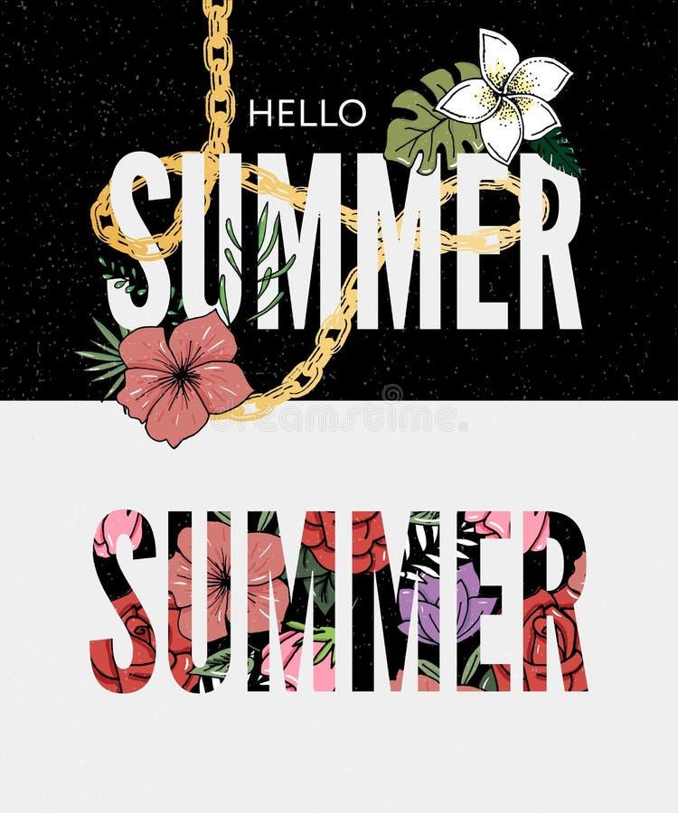 Summer holiday slogan tropical flower illustration Sales Holiday Flyer Banner Poster. Summer holiday slogan tropical flower illustration, fashion, print, retro royalty free illustration