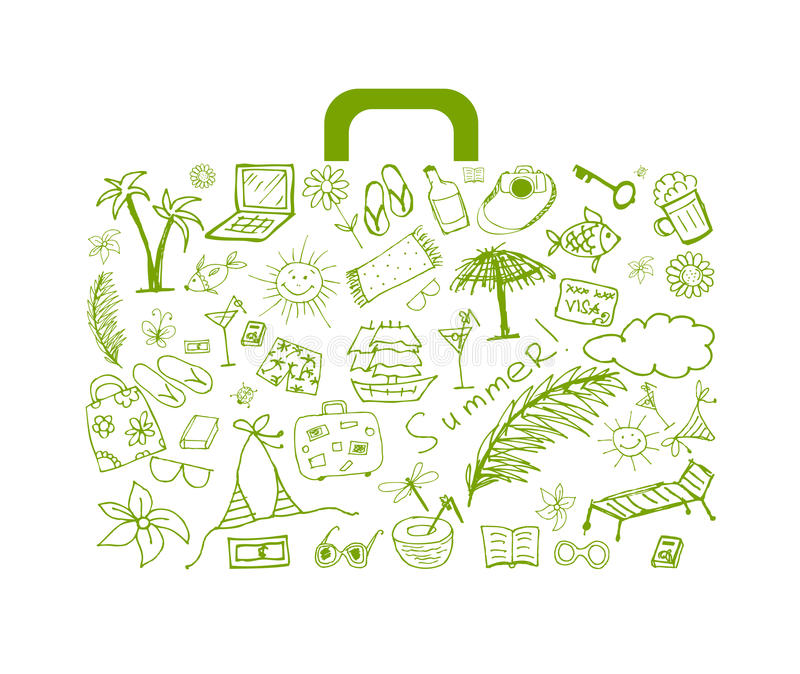 Download Summer Holiday, Suitcase For Your Design Stock Vector - Image: 21035716