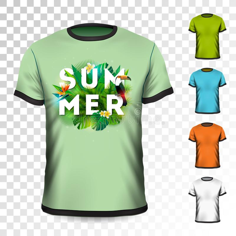 Summer Holiday T-Shirt design with tropical leaves, flower and toucan bird on transparent background. Vector Design stock illustration