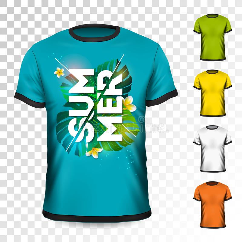 Summer Holiday T-Shirt design with tropical leaves and flower on transparent background. Vector Design template for vector illustration