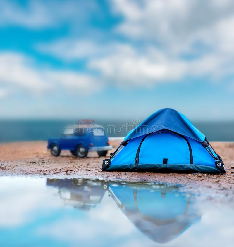 Camping and tent on beach sea view. Summer holiday and travel on vacation concept. Camping and tent on beach sea view royalty free stock images
