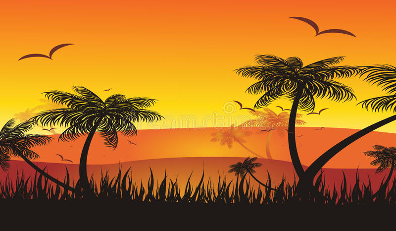 Summer holiday tropical sunset vector illustration