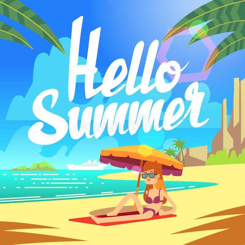 Summer holiday vector background with sea beach and relaxing people stock illustration