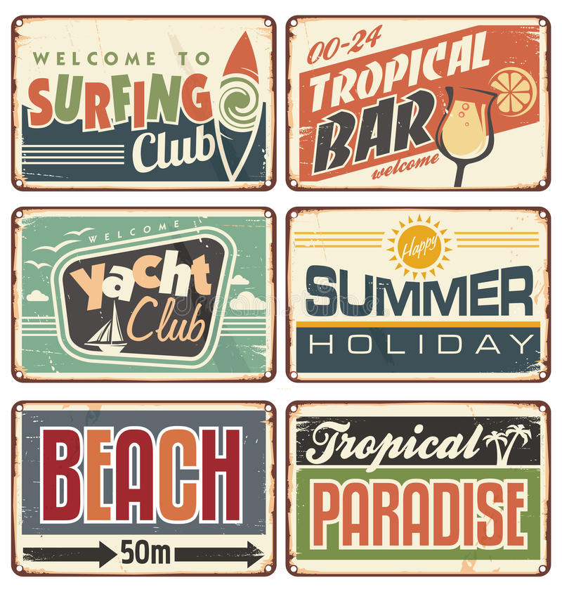 Vector Vintage Pop Art Beach Holiday Illustration Stock: Summer Holiday Vintage Sign Boards Collection Stock Vector