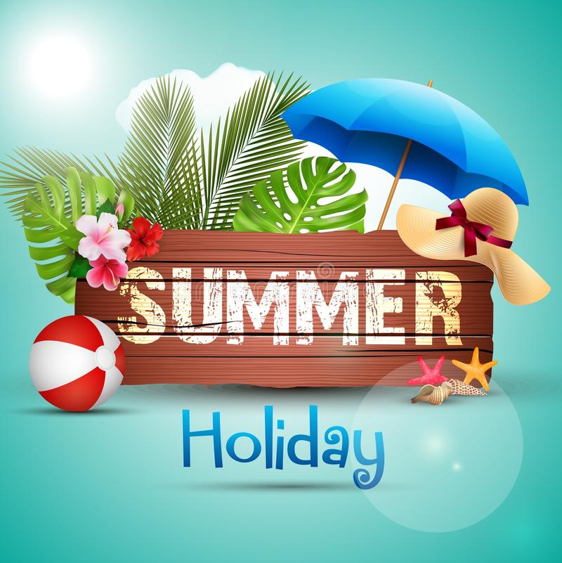 Summer holiday with wooden background and palm leaves vector illustration