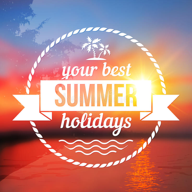 Summer holidays background with text design. Summer holidays vector background with text design royalty free illustration