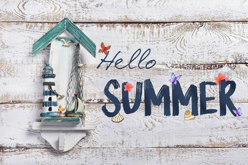 Summer holidays background with text Hello summer stock photo