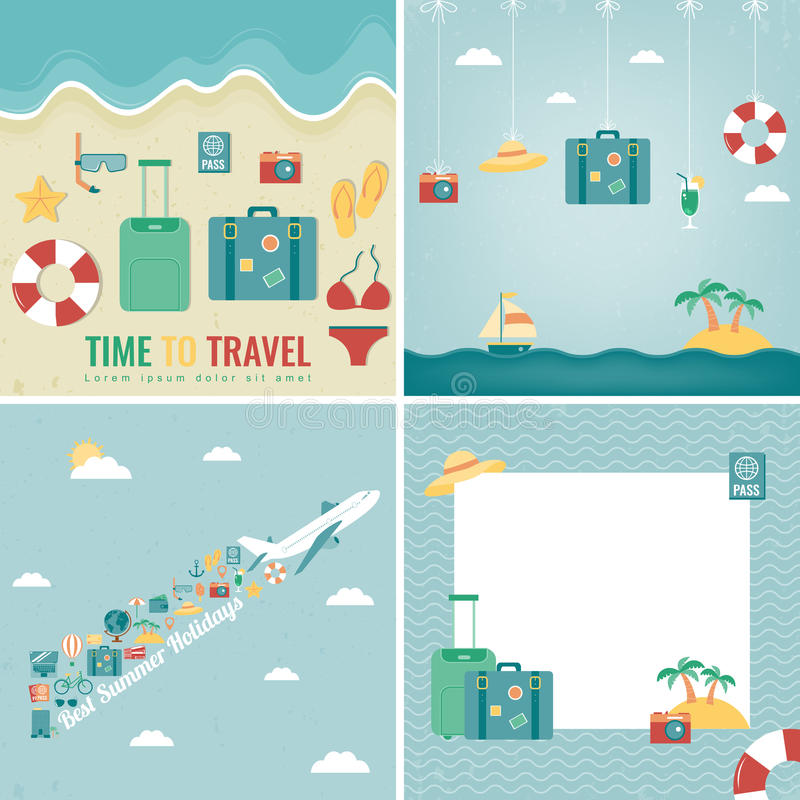 Summer holidays backgrounds collection. Holidays and Vacation concept. Travel icons. Vector. Illustration vector illustration