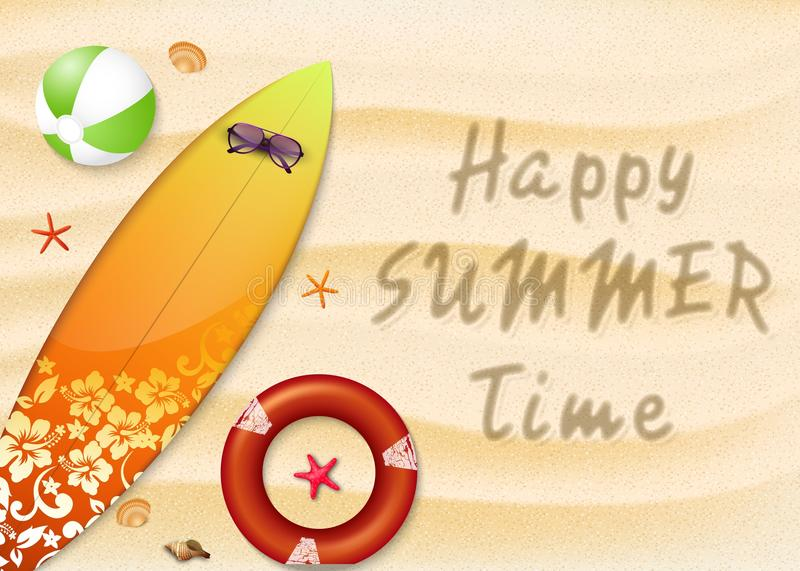 Summer holidays beach background. Top view of surfboard, buoy, starfish, sunglasses, corals and beach ball vector illustration