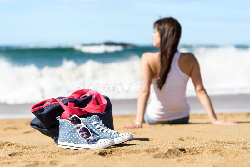 Summer holidays on beach concept stock photos
