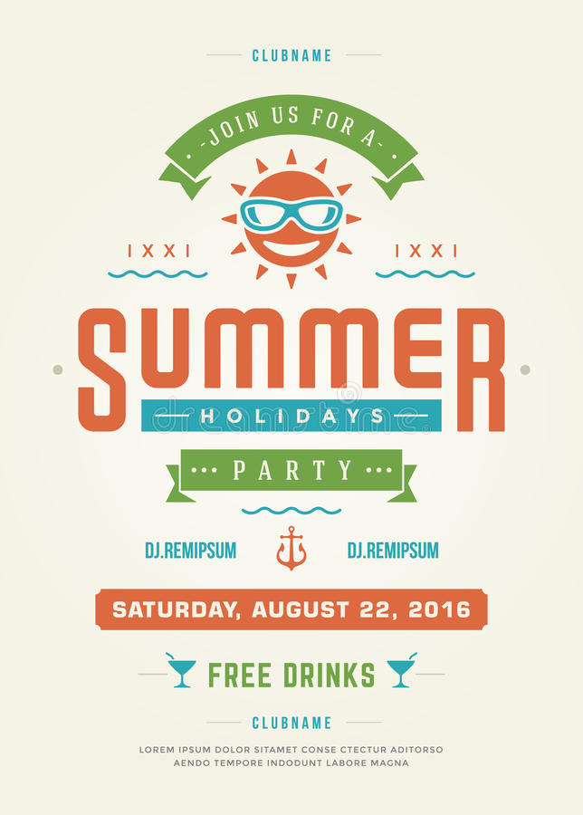 Summer Holidays Beach Party Typography Poster or Flyer Design. Night Club Event or Invitation Vector Illustration Retro Style royalty free illustration