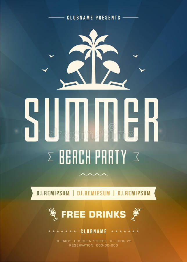 Summer Holidays Beach Party Typography Poster or Flyer Design. Night Club Event or Invitation Vector Illustration Retro Style vector illustration