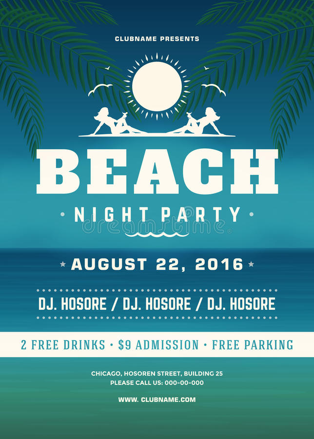 Summer Holidays Beach Party Typography Poster or Flyer Design. Night Club Event or Invitation Vector Illustration Retro Style stock illustration