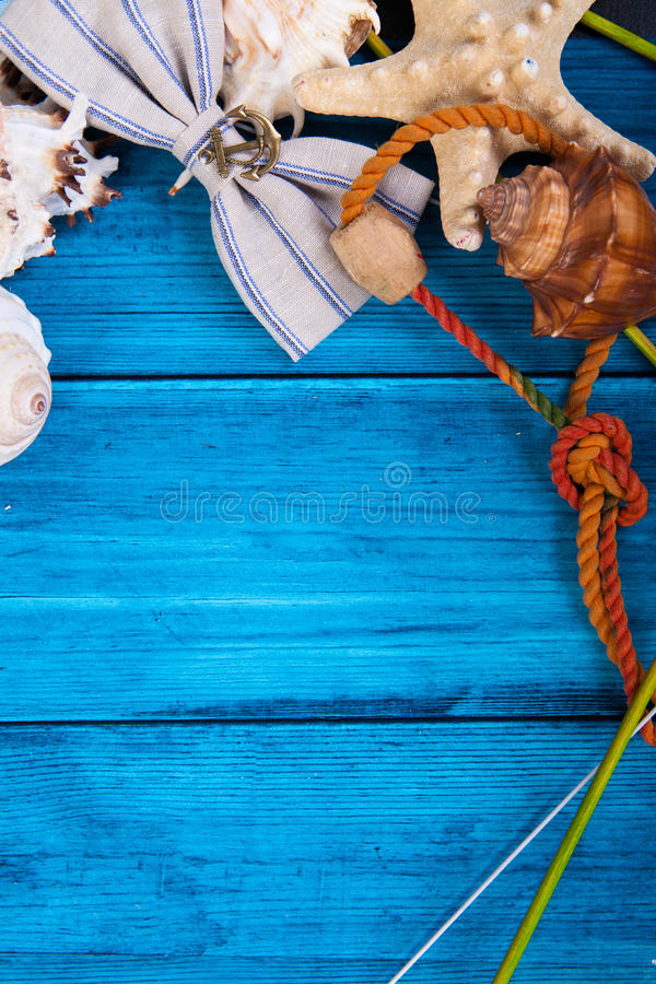 Summer holidays blue background with space for advertising and maritime theme stock image