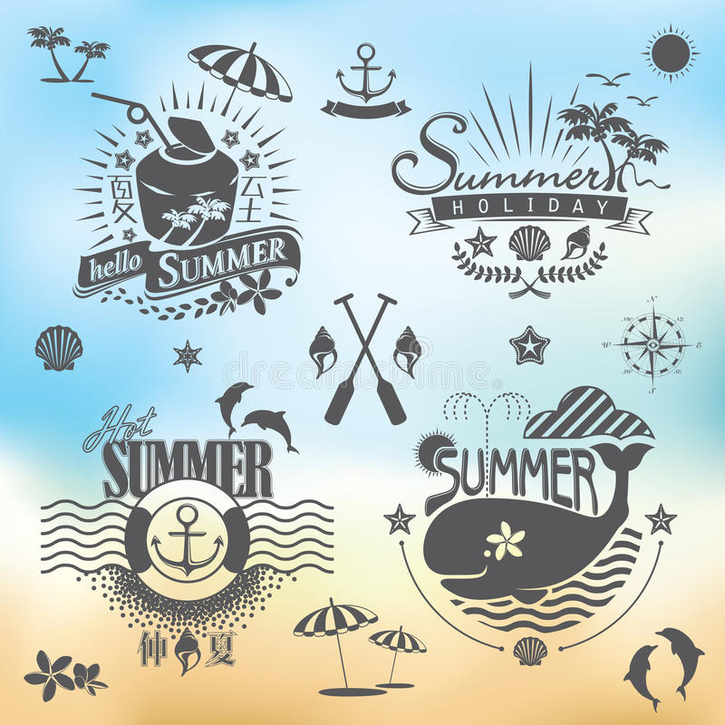 For Summer holidays. Summer calligraphic designs ornaments, tropical paradise, sea, sunshine, weekend tour, beach vacation, adventure labels vector set royalty free illustration
