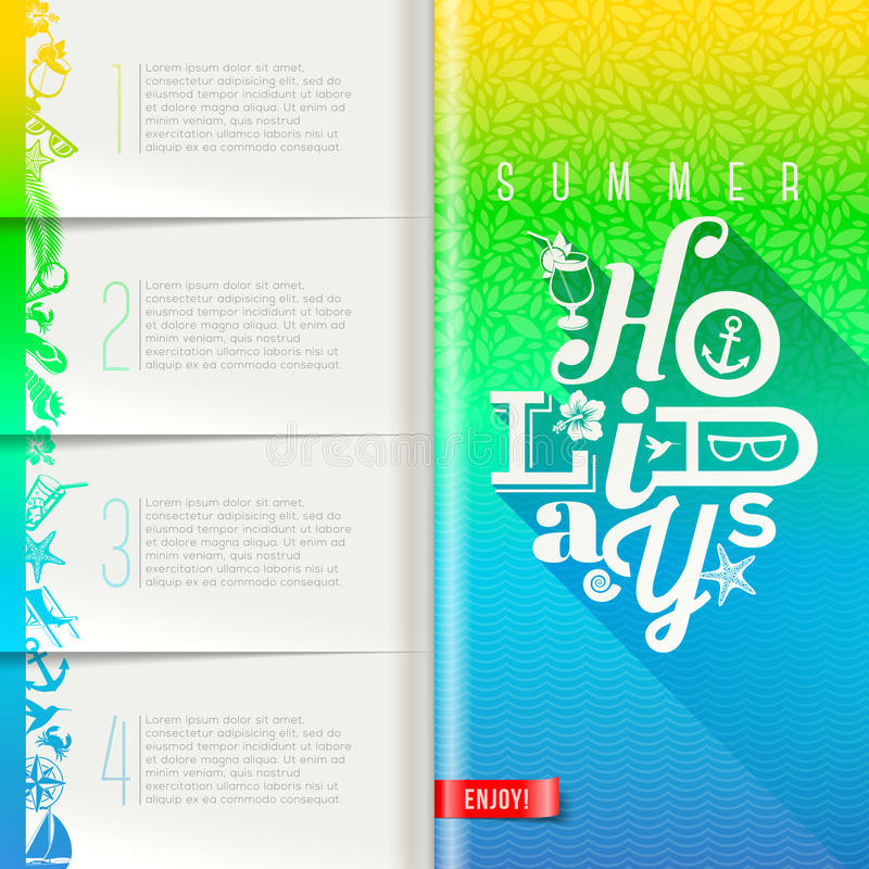 Summer holidays design. Booklet template with infographic elements - summer holidays design vector illustration