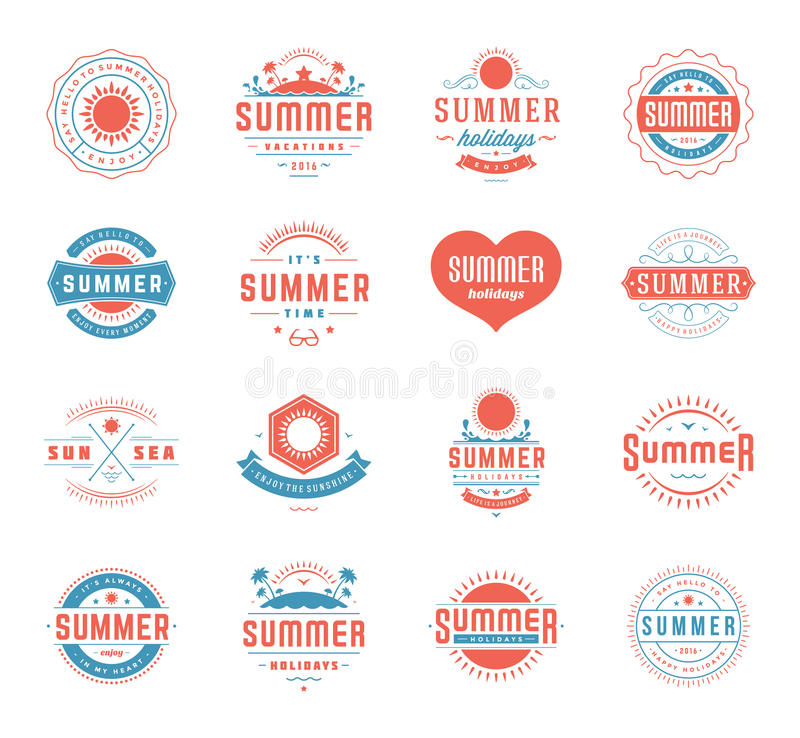 Summer Holidays Design Elements and Typography Set Retro Vintage Templates. Summer Holidays Design Elements and Typography Set Retro and Vintage Templates royalty free illustration