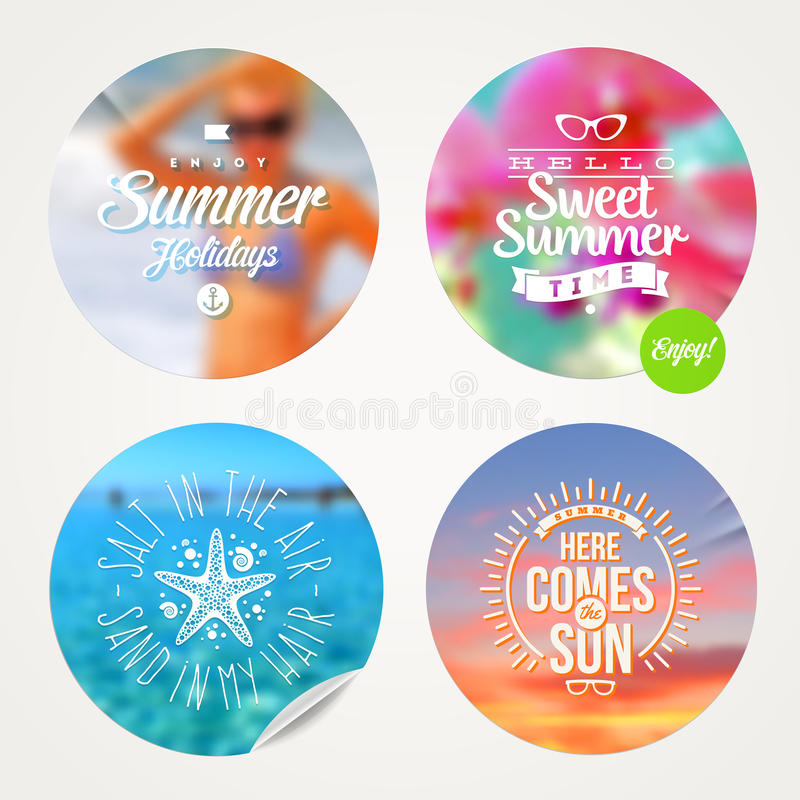 Summer holidays design. Summer holidays and tropical vacation - set of colorful sticker with type design on a defocused background vector illustration
