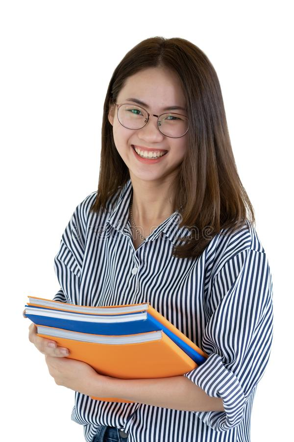 Summer holidays, Education, Campus and teenage concept - Smiling female student in black eyeglasses with folders isolated on white stock photo