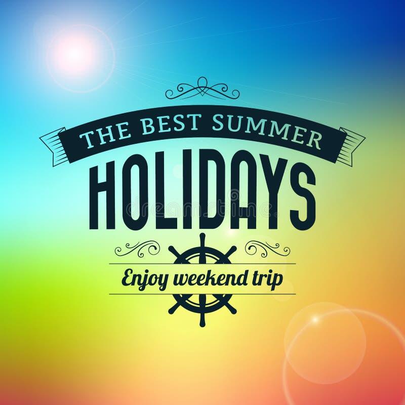 Summer Holidays Enjoy Weekend Trip Typography Poster Stock Photos