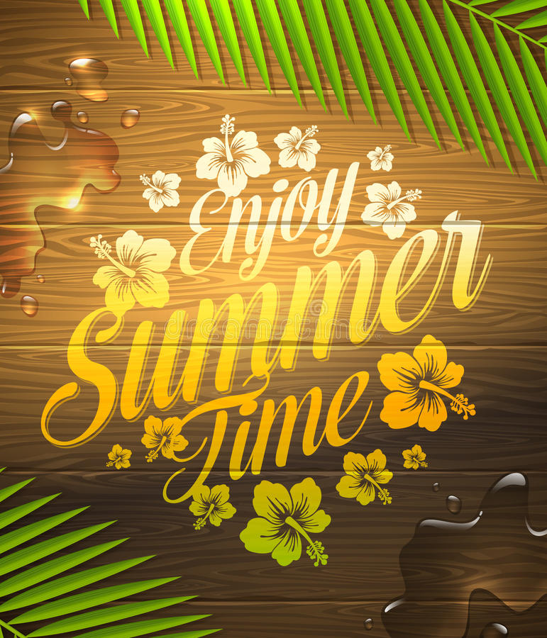 Summer holidays greeting. Summer holidays type design painted on wooden surface and palm tree branches vector illustration