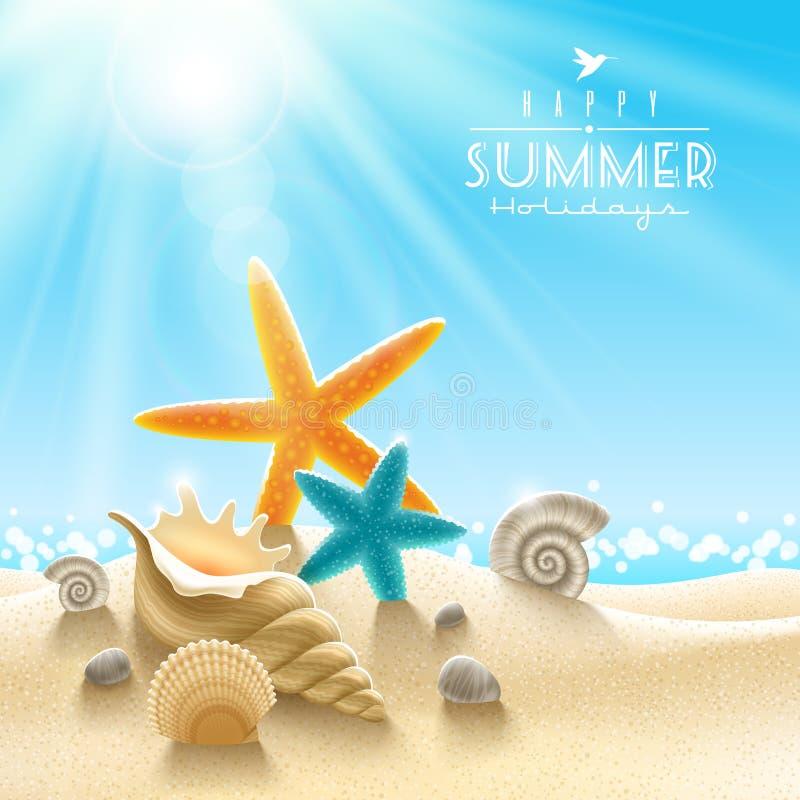 Summer holidays illustration. Sea inhabitants on a beach sand against a sunny seascape vector illustration