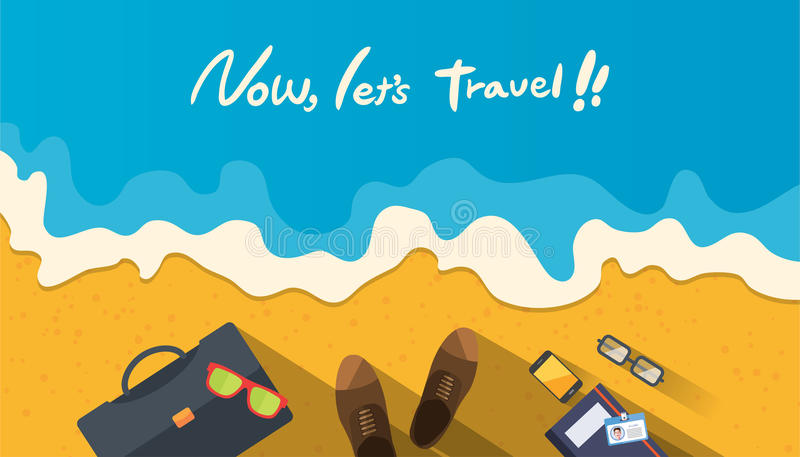Summer holidays illustration,flat design beach and business object concept.  royalty free illustration
