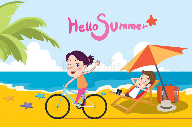Summer holidays illustration,flat design beach and riding bike concept.  royalty free illustration