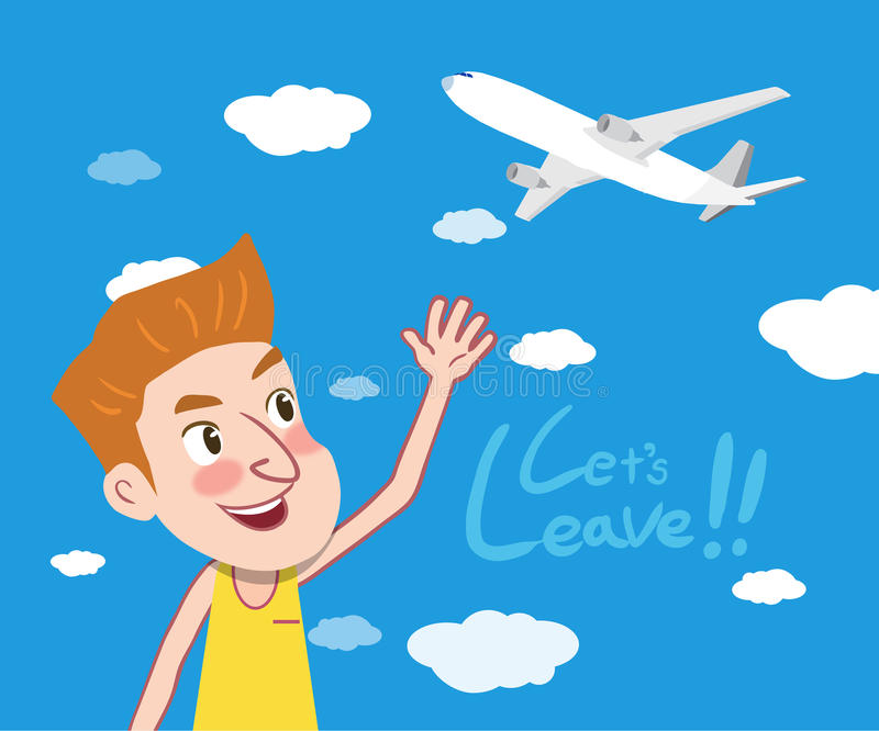 Summer holidays illustration,flat design let's leave concept. Holidays illustration,flat design let's leave concept royalty free illustration