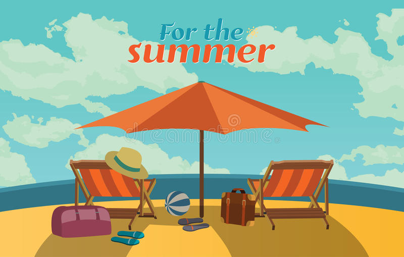 Summer holidays illustration,flat design romantic prasol and beach concept. VECTOR royalty free illustration