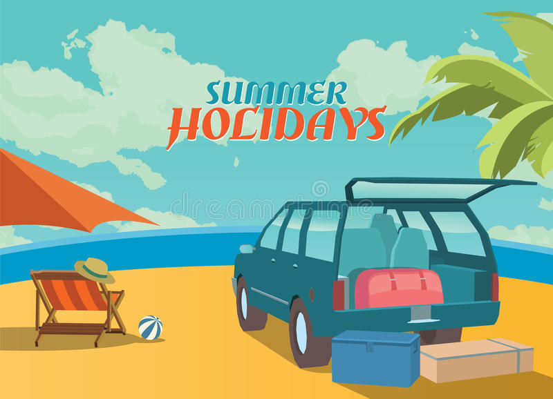 Summer holidays illustration,flat retro design beach and suv, concept.  royalty free illustration