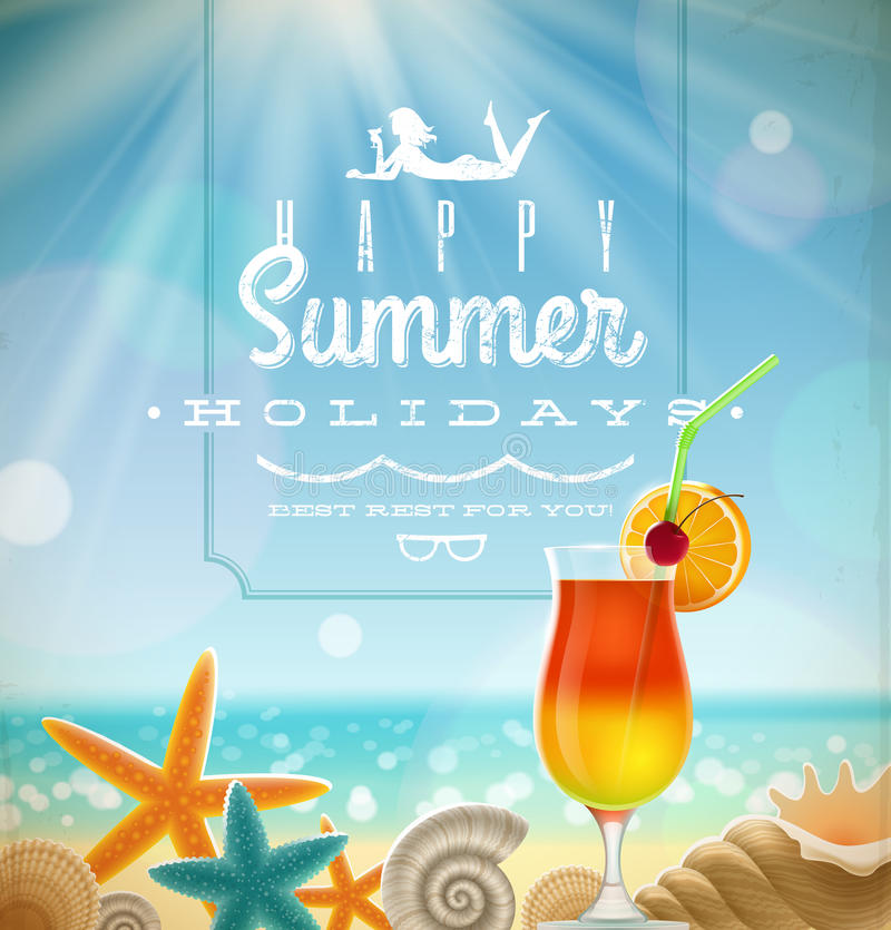 Summer holidays illustration. With greeting lettering and tropical resort symbols on a sunny beach vector illustration