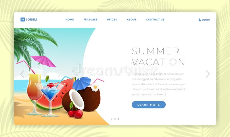 Summer holidays landing page template. Summertime desserts, watermelon slice, exotic coconut cocktails. Seaside resort royalty free illustration