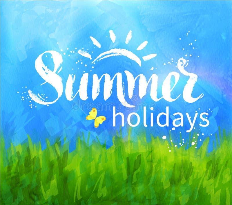 Summer holidays lettering vector illustration