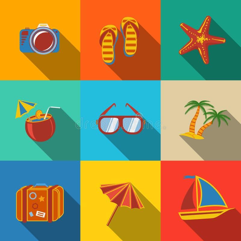 Summer holidays modern flat icons set - coconut royalty free illustration