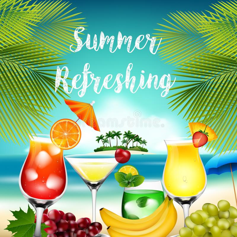 Summer holidays with palm tree, cocktails and fruits stock illustration