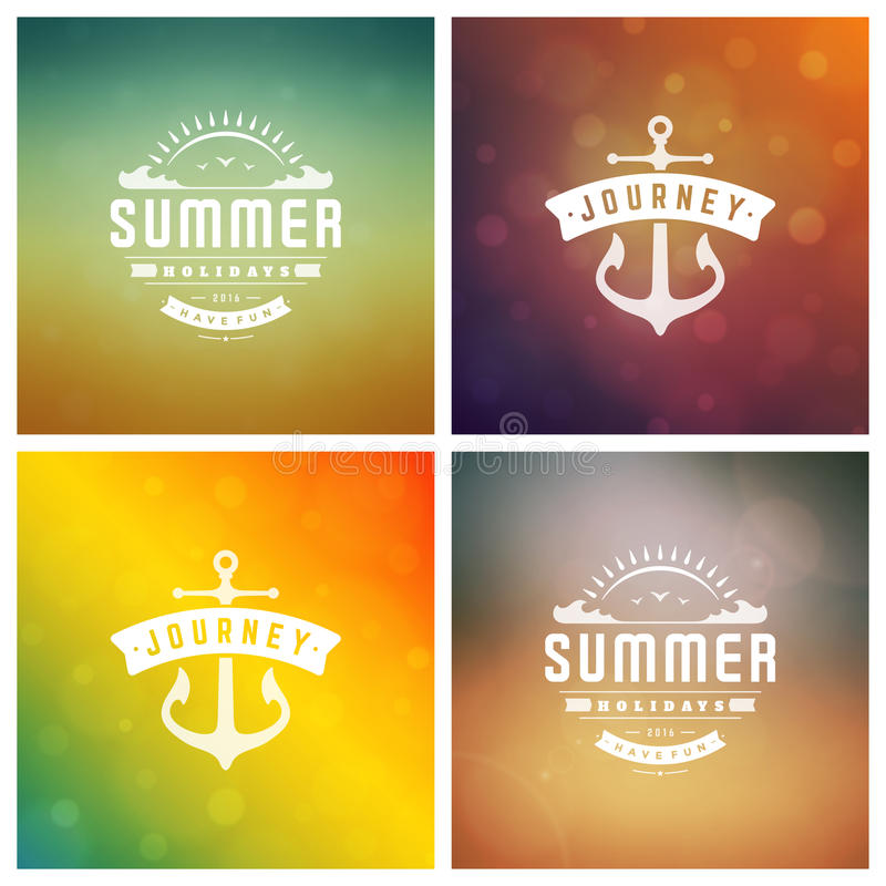 Summer Holidays Retro Typography Labels or Badges Design. And Vector Backgrounds. Blurred Skyline, Beach and Sun Light Backdrops vector illustration