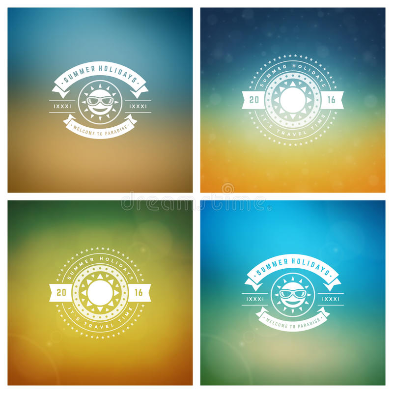 Summer Holidays Retro Typography Labels or Badges Design. And Vector Backgrounds. Blurred Skyline, Beach and Sun Light Backdrops stock illustration