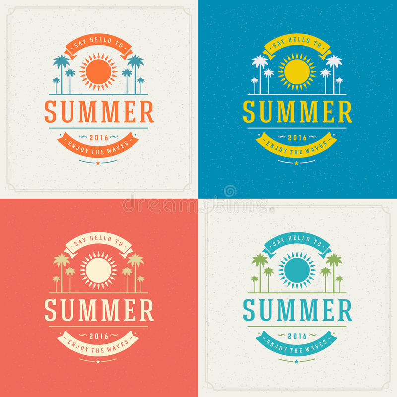 Summer Holidays Retro Typography Labels or Badges Design. And Vector Backgrounds for Party Posters Flyers and Greeting Cards. Textured Backdrop vector illustration