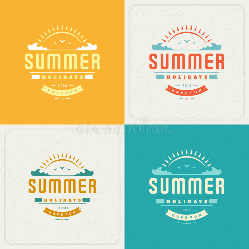 Summer Holidays Retro Typography Labels or Badges Design. And Vector Backgrounds for Party Posters Flyers and Greeting Cards. Textured Backdrop royalty free illustration