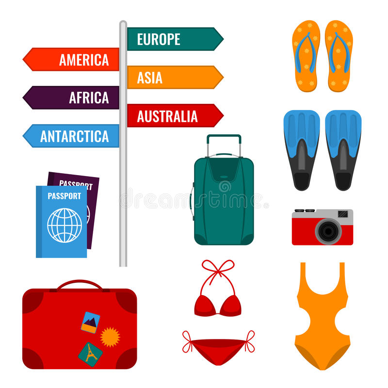 Summer holidays set with direction signs, luggage suitcases, swimming suits, stock illustration