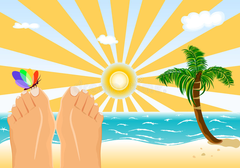 Download Summer Holidays Sunbathing On A Tropical Beach Stock Vector - Illustration: 8778957