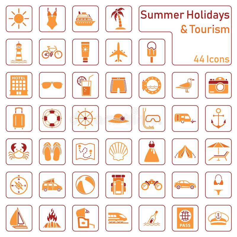 Summer holidays and tourism - big icon set vector illustration