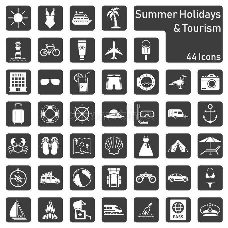 Summer holidays and tourism - big icon set royalty free illustration